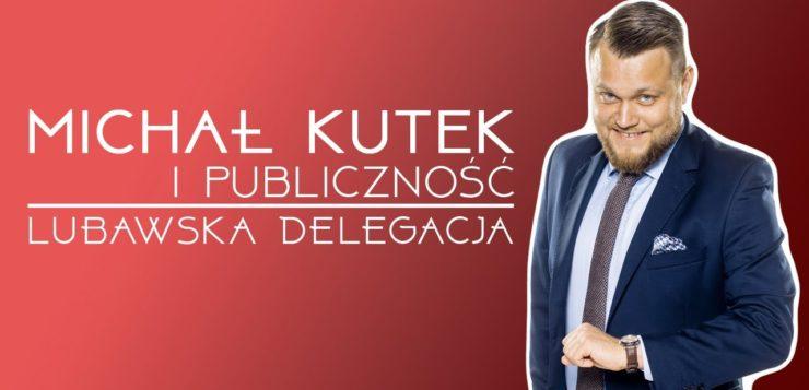 Michał Kutek i publiczność - Lubawska delegacja