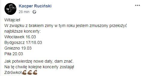 Kacper Ruciński - przełożone imprezy